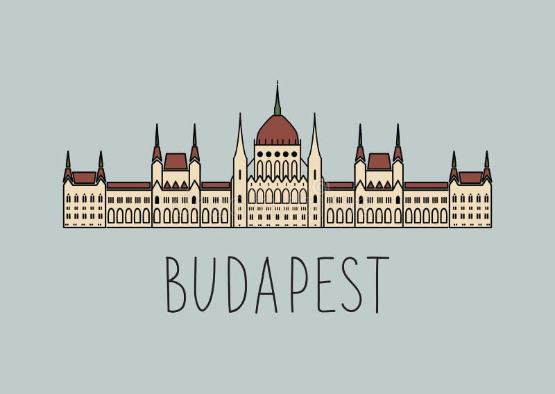 Nakreślenie Budapest parlament ilustracja wektor