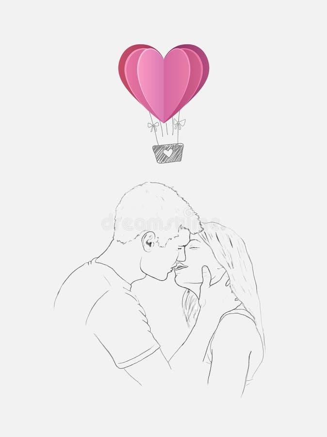 Nakreślenie całowanie para z kierowym gorące powietrze balonem ilustracja wektor