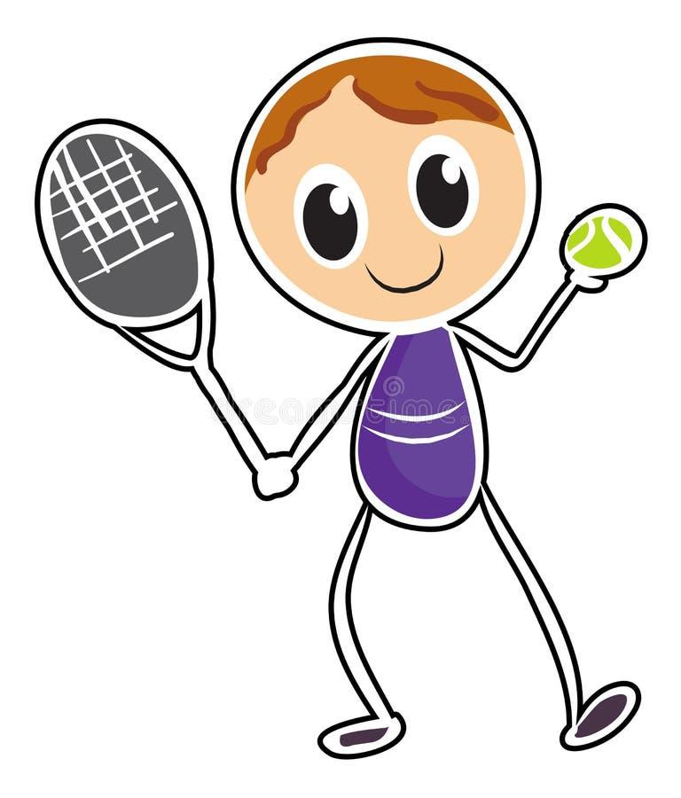 Nakreślenie chłopiec bawić się tenisa ilustracja wektor