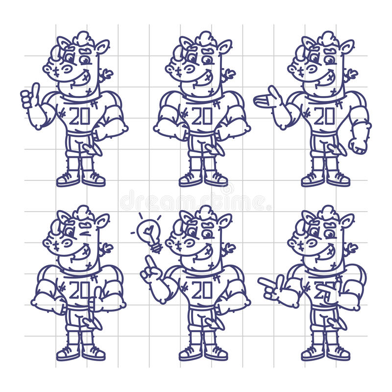 Nakreślenie charakter - ustalony nosorożec gracz futbolu Pokazuje i punkty ilustracji