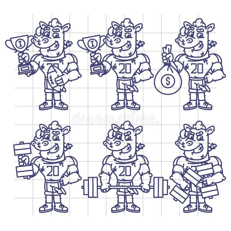 Nakreślenie charakter - ustalony nosorożec gracz futbolu Trzyma filiżanka pieniądze Dumbb ilustracji