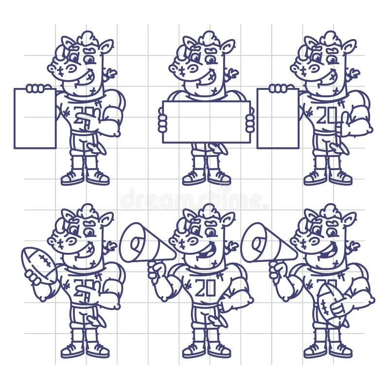 Nakreślenie charakter - ustalony nosorożec gracz futbolu Trzyma megafon Balowy ilustracja wektor