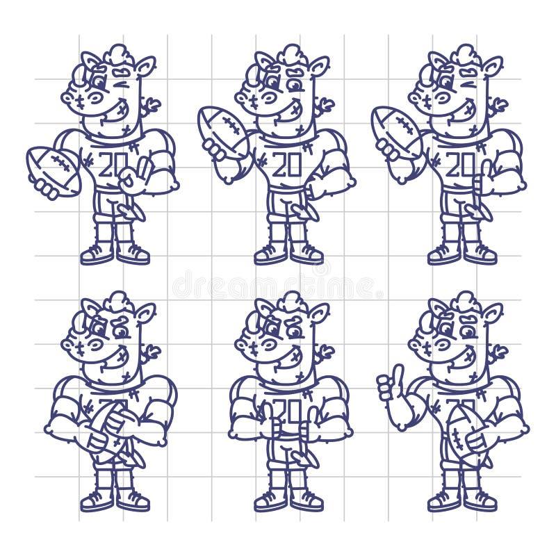 Nakreślenie charakter - ustalony nosorożec gracz futbolu Trzyma Prostokątnego Bal ilustracji