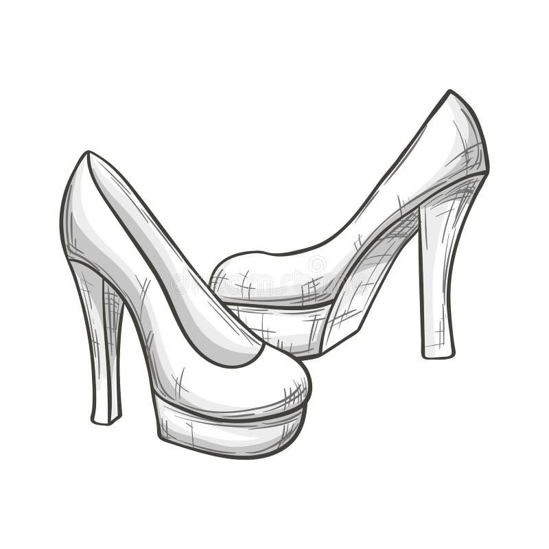 Nakreślenie czerwień heeled buty ilustracji