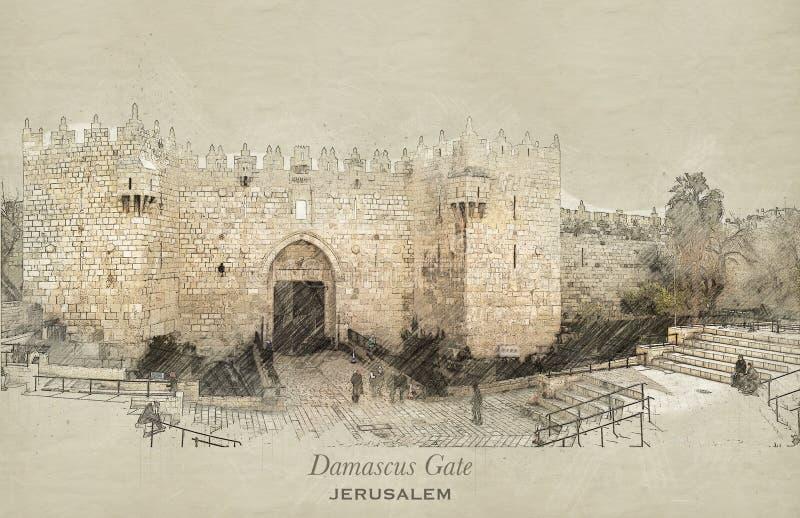 Nakreślenie Damaszek brama, Jerozolima ilustracji
