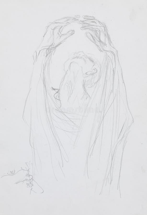 Nakreślenie desperacko ono modli się mężczyzna ilustracja wektor