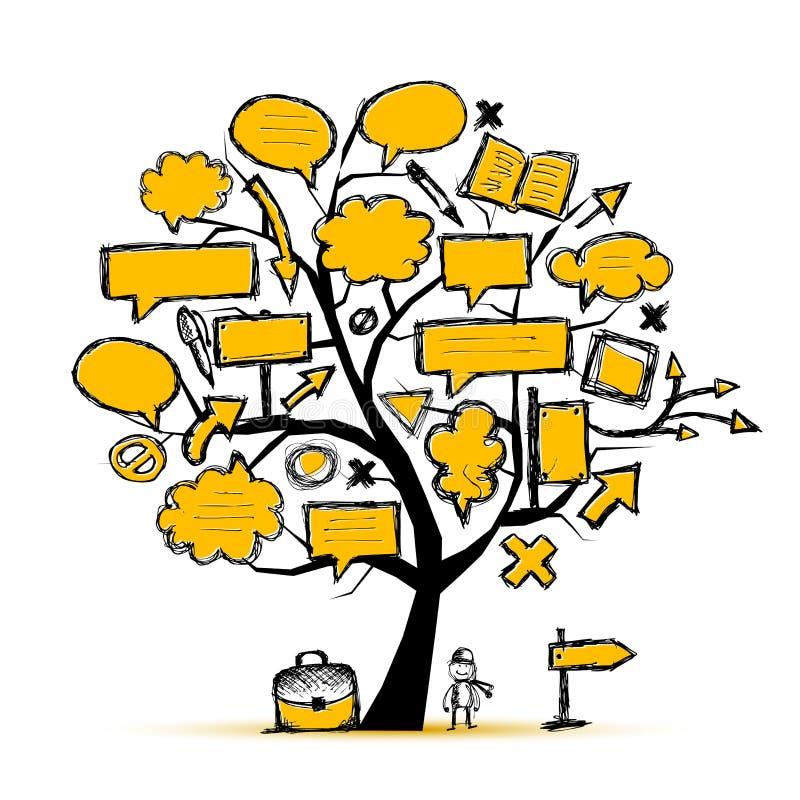 Nakreślenie drzewo z strzała i ramami ilustracja wektor