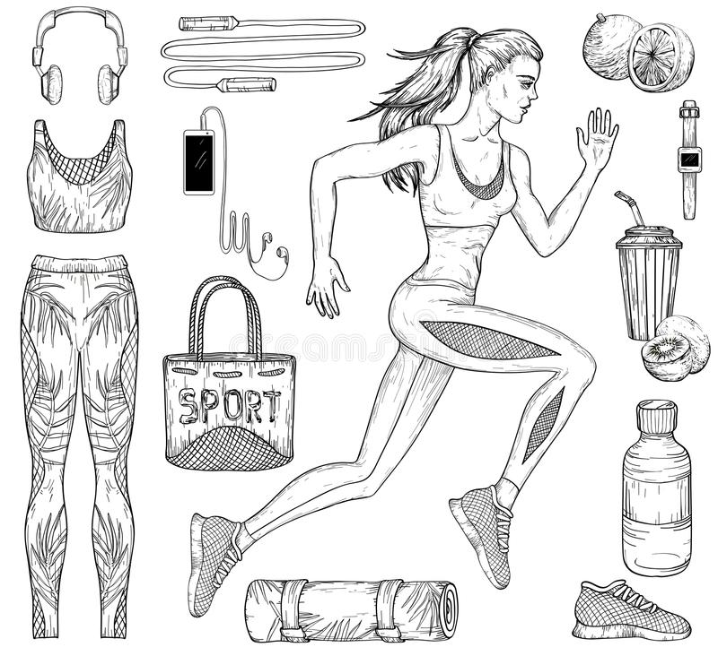 Nakreślenie działająca kobieta, sprawność fizyczna, sport i akcesoria odzieżowi, royalty ilustracja