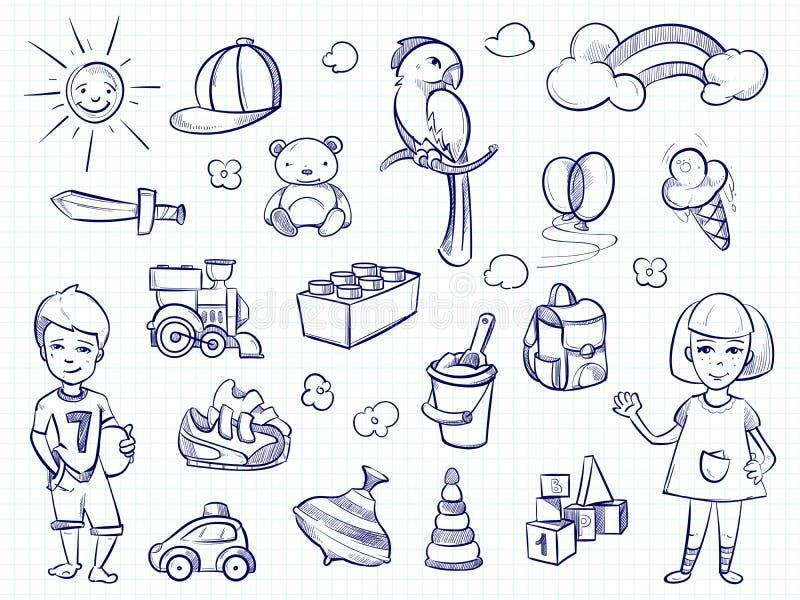 Nakreślenie dzieciaków sen Ręka rysująca dziewczyna, chłopiec, bawi się ilustracja wektor