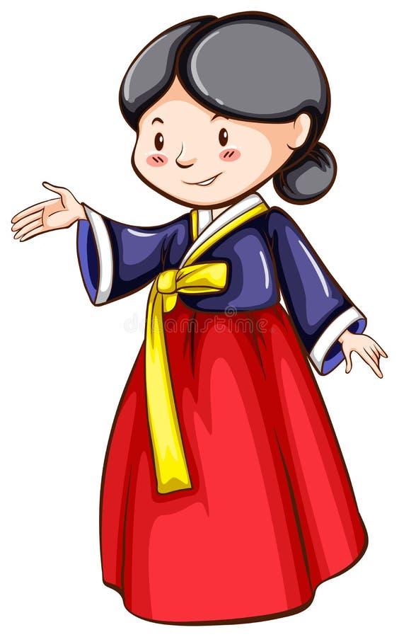 Nakreślenie dziewczyna jest ubranym Azjatyckiego kostium ilustracji