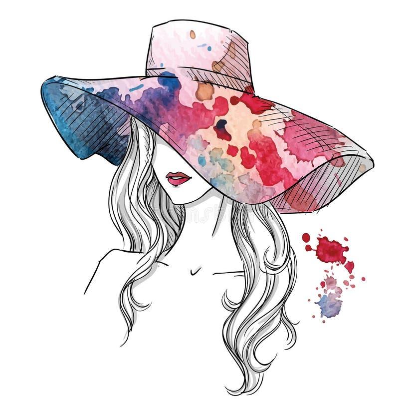 Nakreślenie dziewczyna w kapeluszu Mody ilustracja ręka patroszona royalty ilustracja