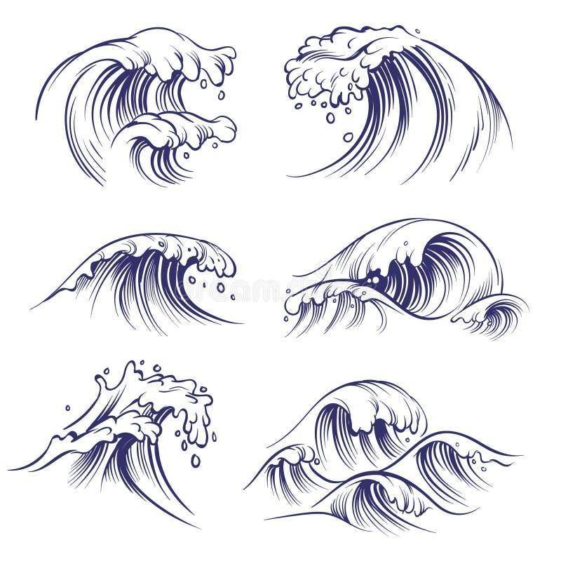 Nakreślenie fala Ocean fal denny pluśnięcie Ręka rysująca surfujący burza wiatru wody doodle wektoru kolekcję ilustracja wektor