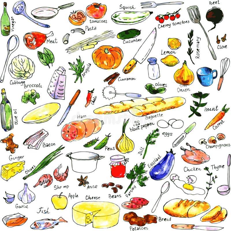 Nakreślenie foods, naczynia i kuchenny wyposażenie, ilustracja wektor
