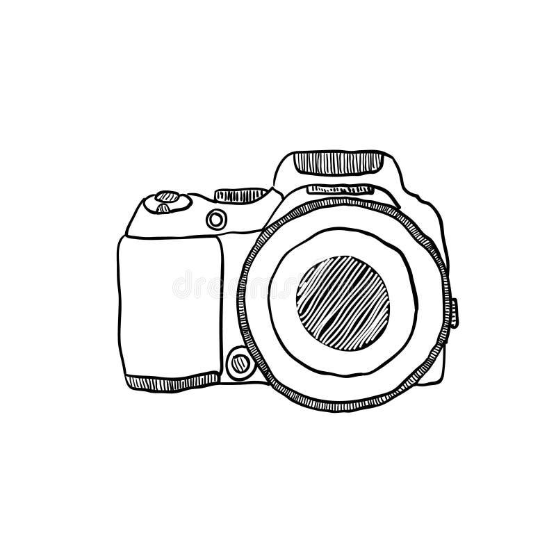 Nakreślenie fotografii kamera rysująca ręką ilustracja wektor
