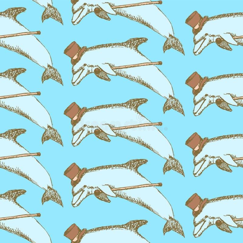 Nakreślenie galanteryjny delfin w rocznika stylu ilustracja wektor