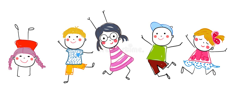 Nakreślenie grupa skokowi dzieci royalty ilustracja