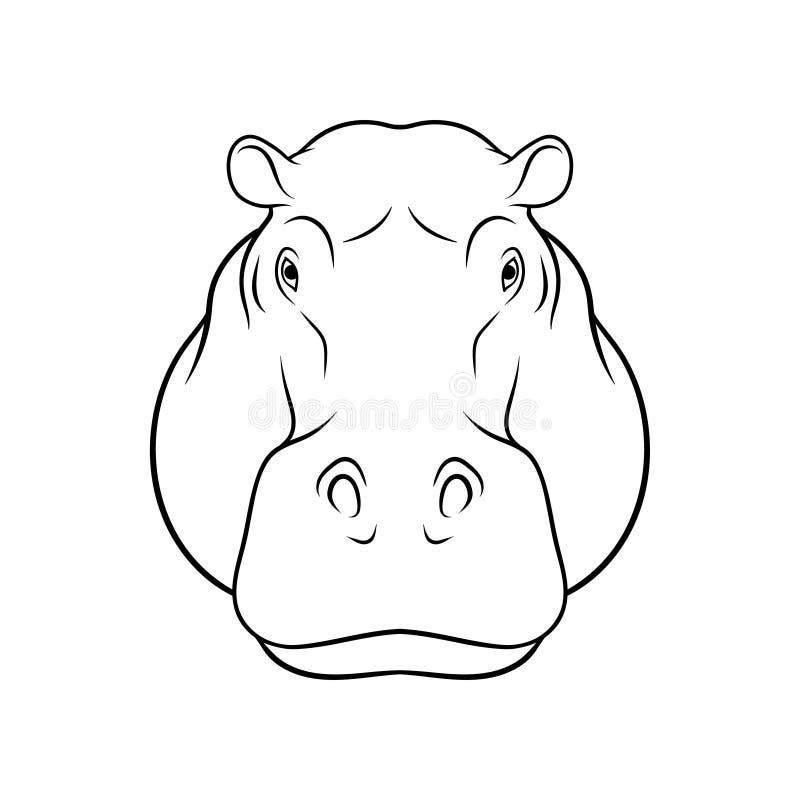 Nakreślenie hipopotam głowa, portret lasowa zwierzęca czarny i biały ręka rysująca wektorowa ilustracja royalty ilustracja
