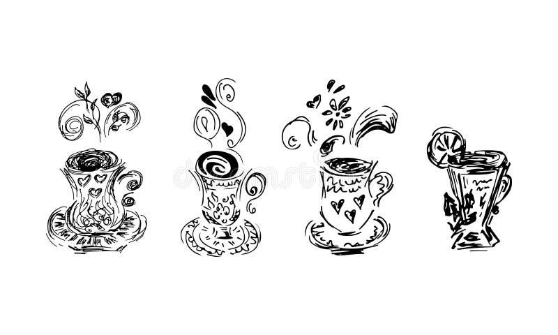 Nakreślenie ikona z herbacianych filiżanek ustawiającą kolekcją Abstrakcjonistyczny czerń ustawiający na białym tle abstrakcjonis ilustracja wektor
