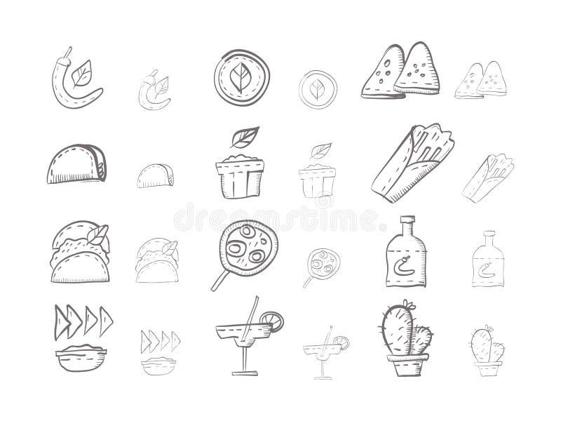 Nakreślenie ikony inkasowe dla meksykańskiego jedzenia royalty ilustracja