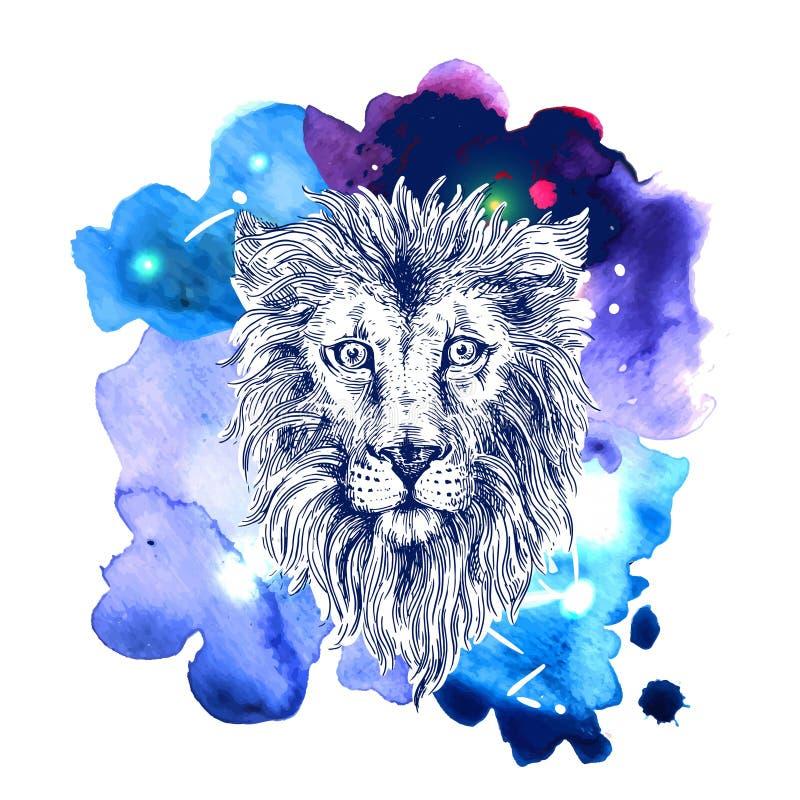 Nakreślenie ilustraci lew royalty ilustracja