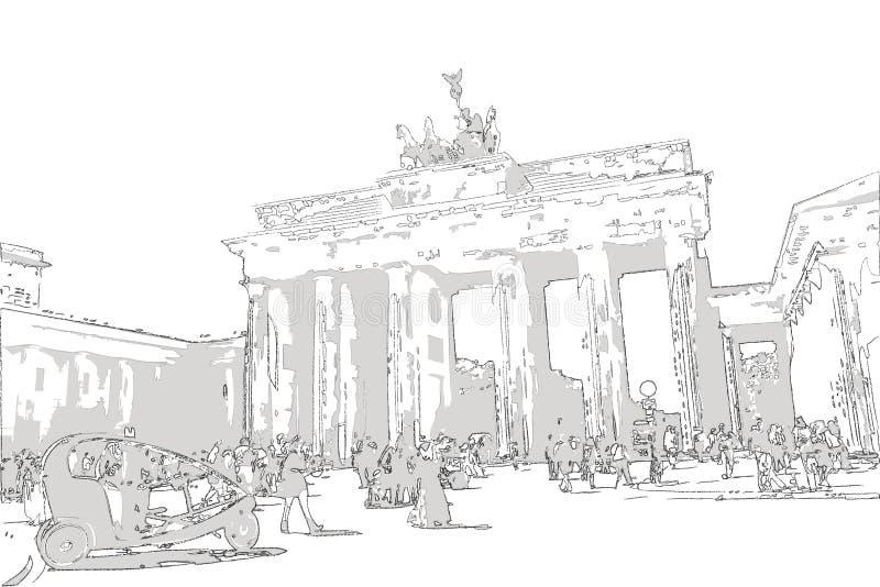 Nakreślenie, ilustracja Brandenburg bramy brandenburger tor/, Berlin Germany ilustracji