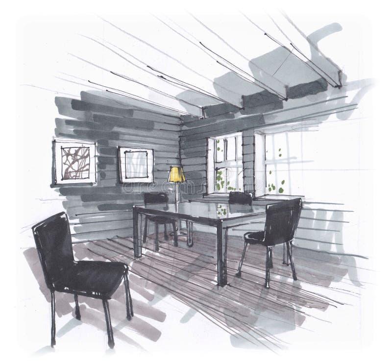 Nakreślenie jadalnia zgłasza i krzesła w terenie z wielkim Windows Obrazy na ?cianie Poci?gany r?cznie wn?trze royalty ilustracja