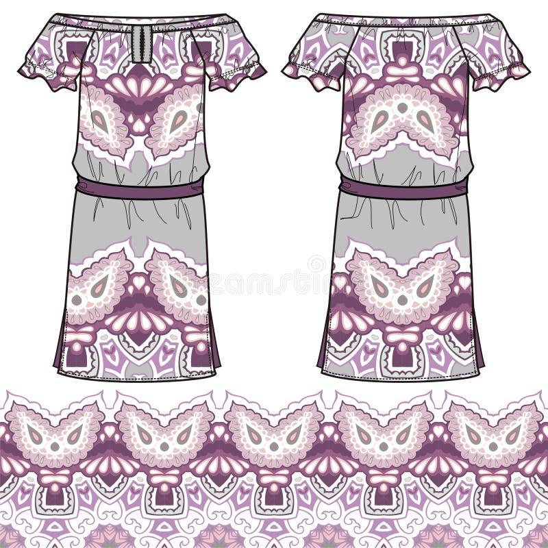 Nakreślenie kobiet lata sukni tkaniny bawełna, jedwab, bydło z orientalna ręka rysującym Paisley kwiecistym geometrycznym wzorem ilustracja wektor