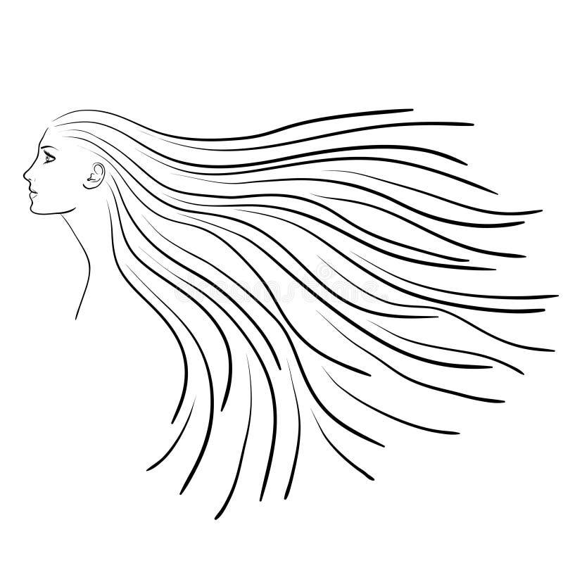 Nakreślenie kobieta profil z długie włosy ilustracji