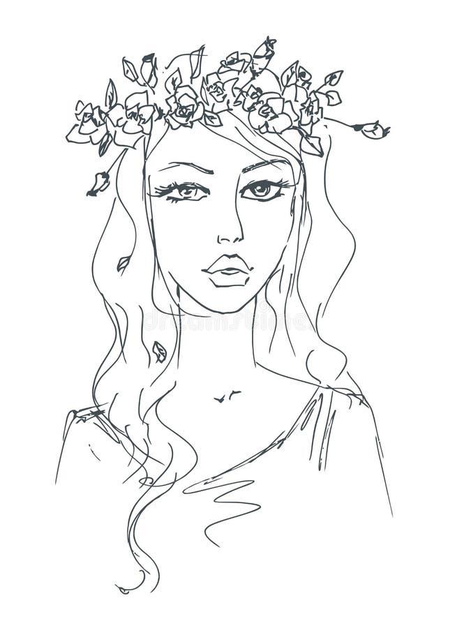 Nakreślenie kobieta z kwiatami w jej włosy ilustracja wektor