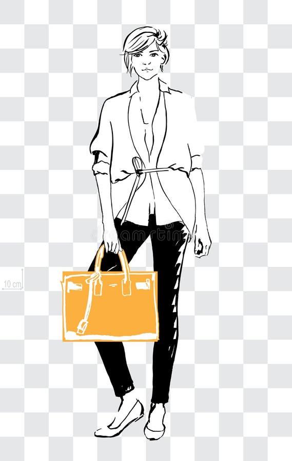 Nakreślenie kobiety mogli pokazywać daleko reala rozmiar torebka, duży ciężar torba lub miasto torba, ilustracja wektor