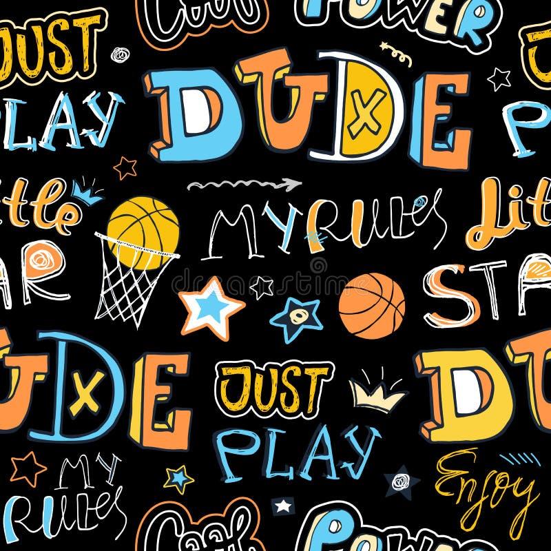 Nakreślenie koszykówki bezszwowy wzór dla chłopiec royalty ilustracja