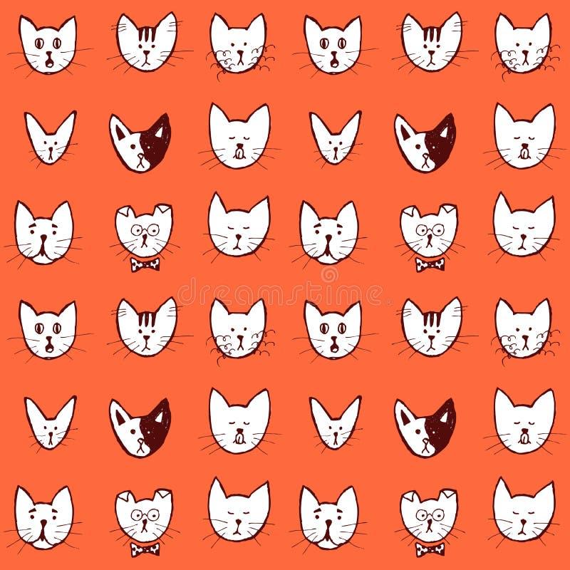 Nakreślenie kota twarzy bezszwowy wzór royalty ilustracja