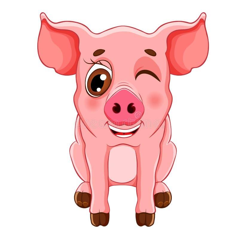 Nakreślenie kreskówki mrugnięcia świniowaty obsiadanie dla dziecko kolorystyki książki, ilustracja wektor