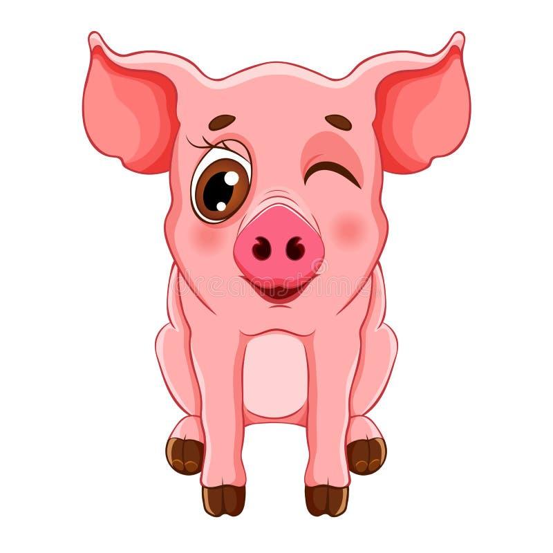 Nakreślenie kreskówki mrugnięcia świniowaty obsiadanie dla dziecko kolorystyki książki, ilustracji