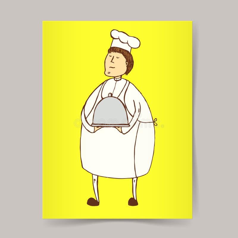 Nakreślenie kucharz ilustracji