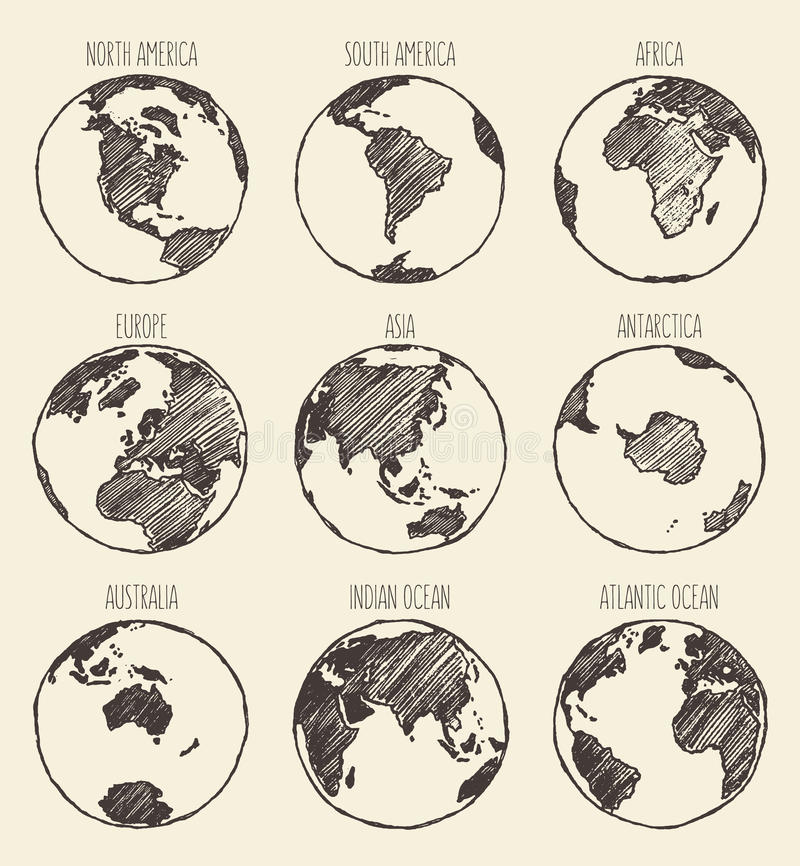 Nakreślenie kula ziemska Ameryka Afryka Europa Azja Australia ilustracja wektor