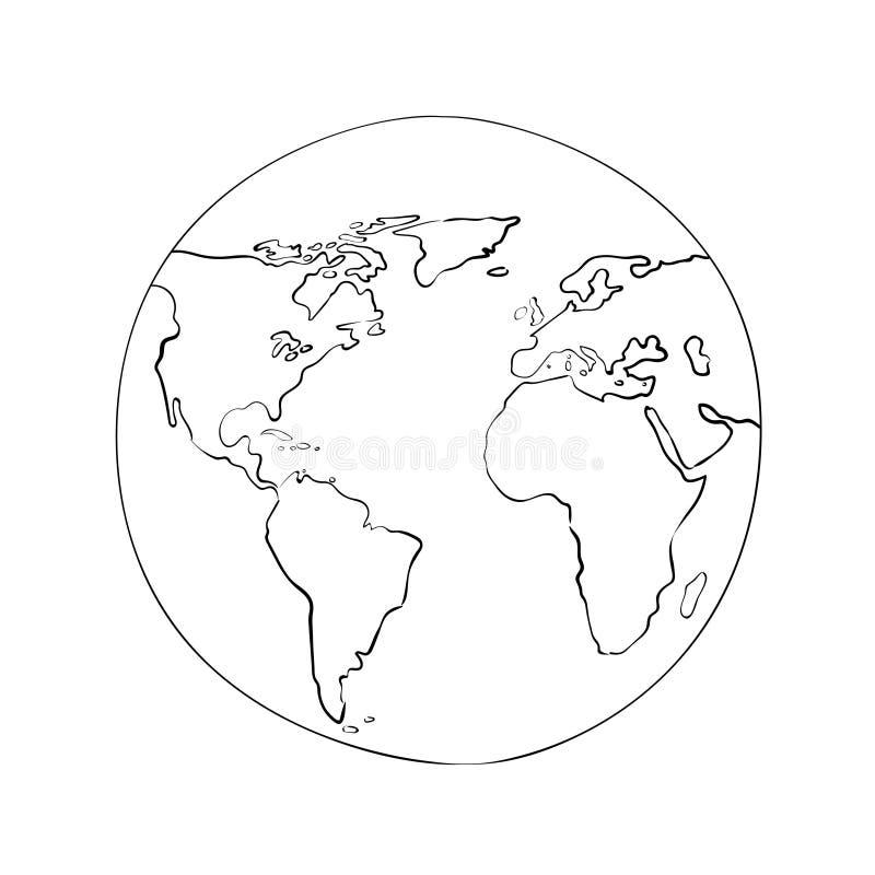 Nakreślenie kuli ziemskiej światowej mapy czerni wektoru ilustracja ilustracji