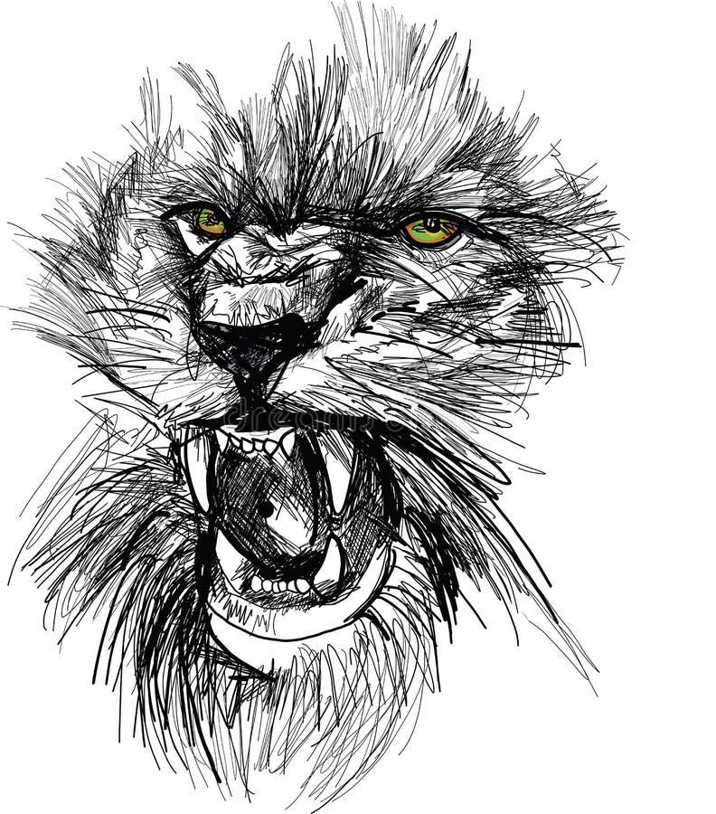 Nakreślenie lew głowa ilustracja wektor