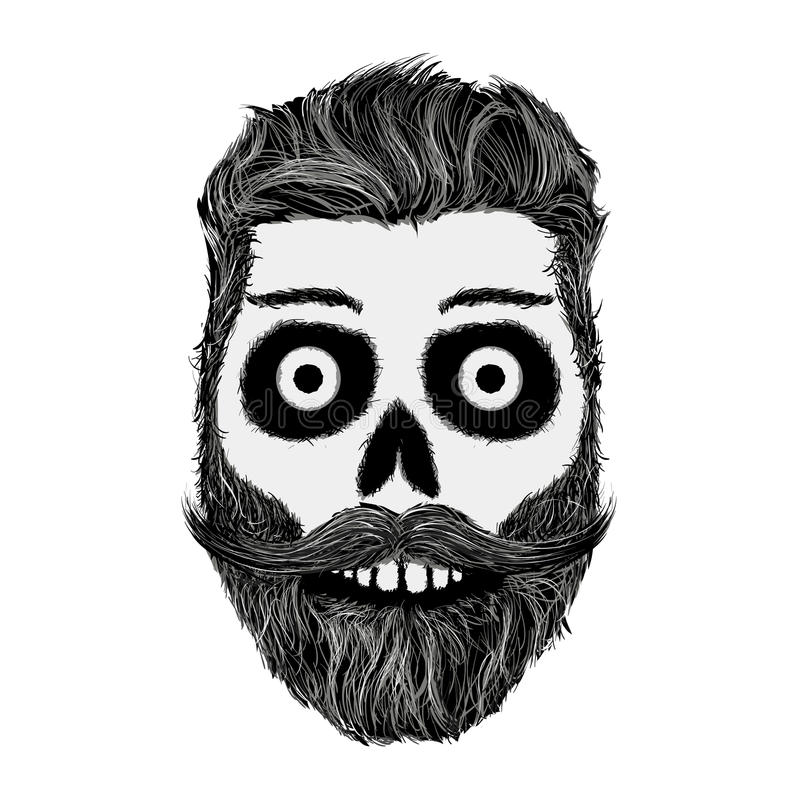 Nakreślenie ludzka czaszka z brodą i wąsy Modnisia styl royalty ilustracja