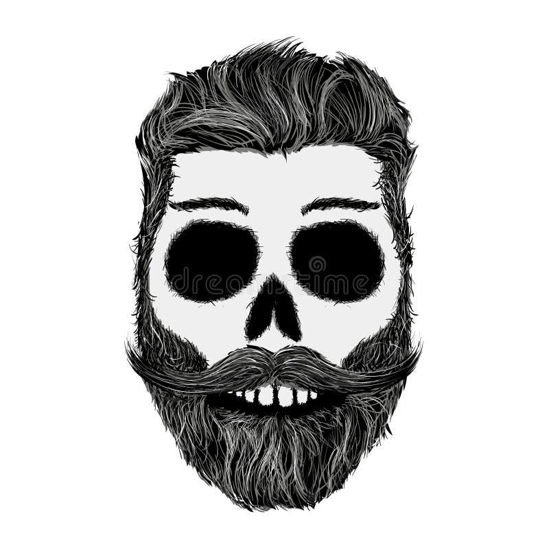 Nakreślenie ludzka czaszka z brodą i wąsy Modnisia styl ilustracja wektor