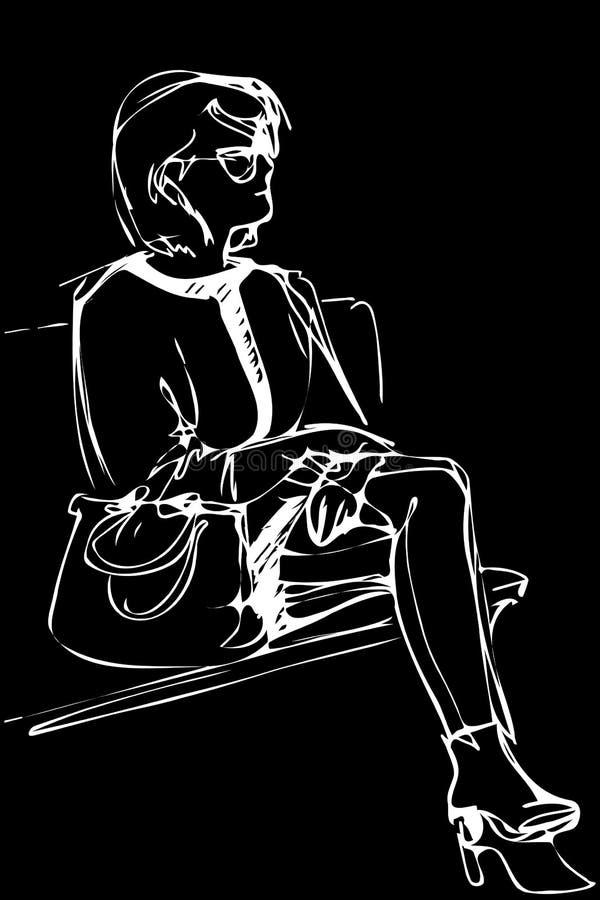 Nakreślenie młoda kobieta w szkłach siedzi na ławce royalty ilustracja