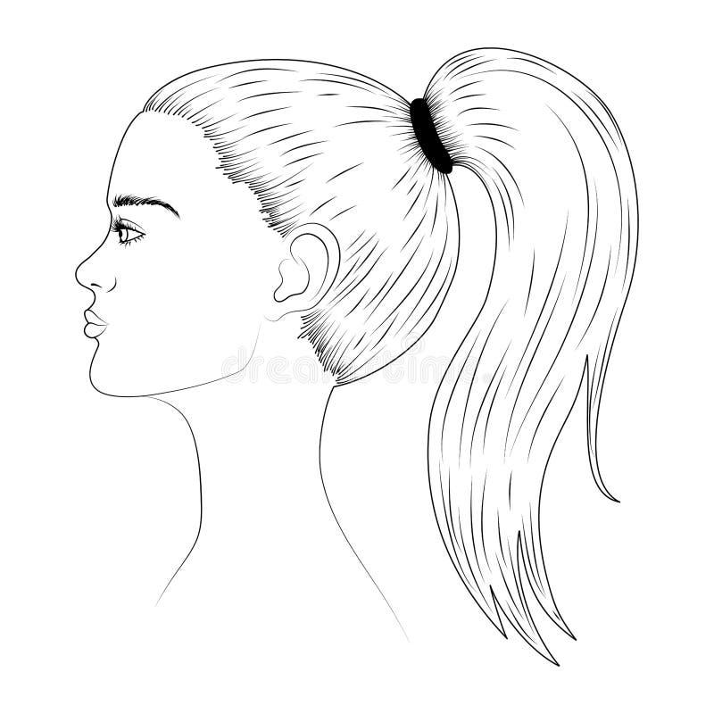 Nakreślenie młodej kobiety twarz w profilu royalty ilustracja