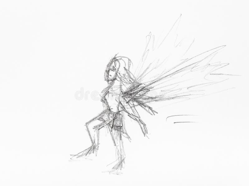 Nakreślenie mała czarodziejska ręka rysująca czarnym ołówkiem ilustracja wektor