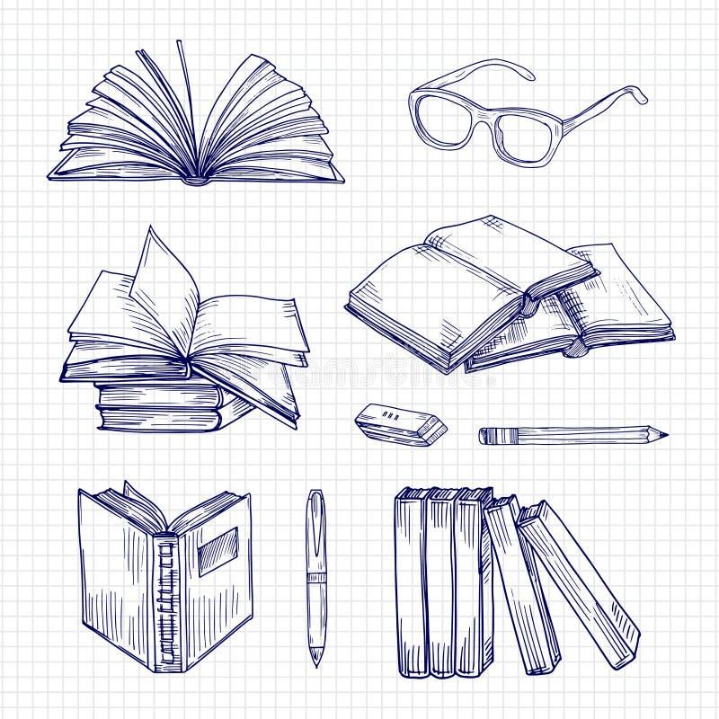 Nakreślenie materiały i książki Rocznika doodle wektoru biblioteczna kolekcja ilustracji
