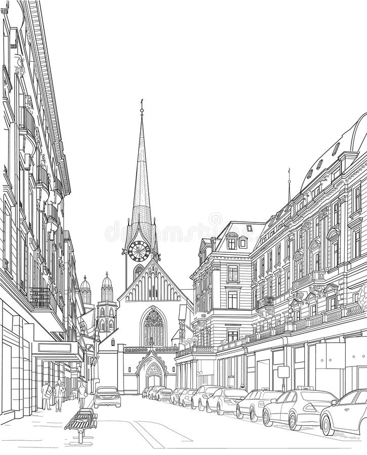 Nakreślenie miasto ulica ilustracja wektor