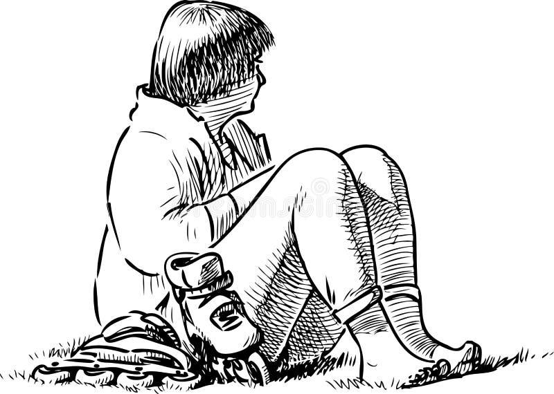 Nakreślenie mieszczanka odpoczywa na gazon trawie ilustracji