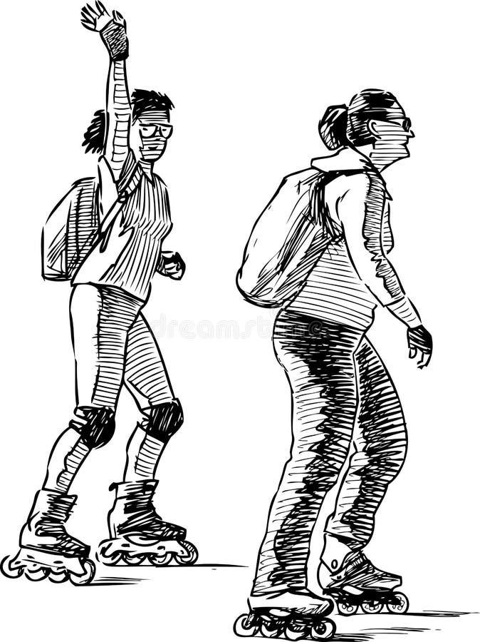 Nakreślenie mieszczanki jedzie rolkowe łyżwy ilustracja wektor