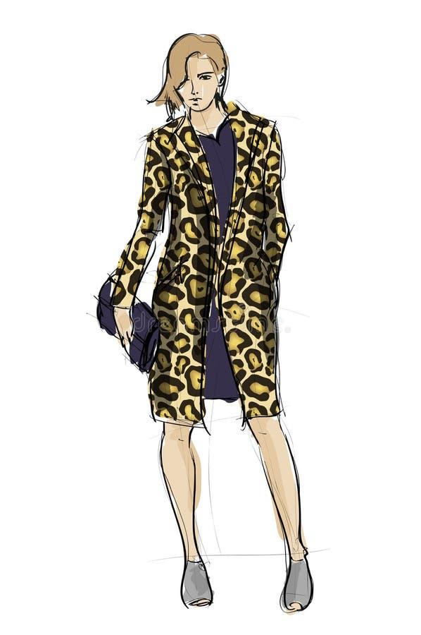Nakreślenie. mod dziewczyny royalty ilustracja