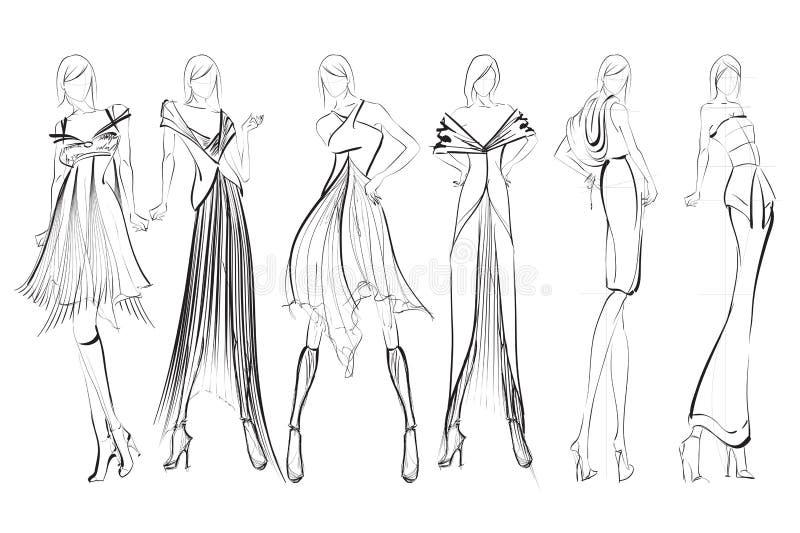 nakreślenie mod dziewczyny ilustracja wektor