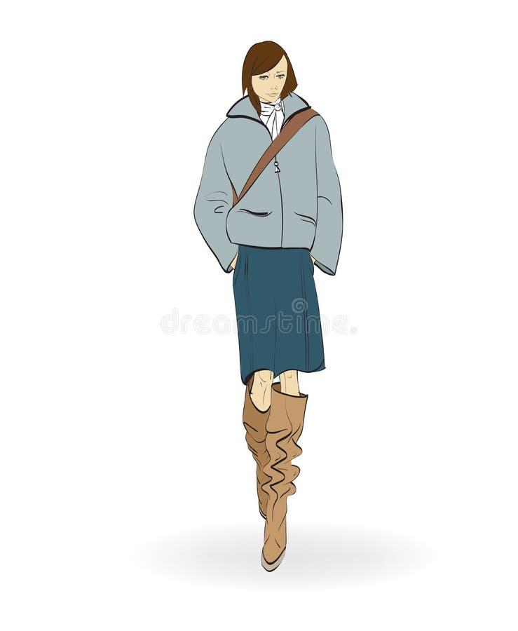 nakreślenie mod dziewczyny na białym tle ilustracji
